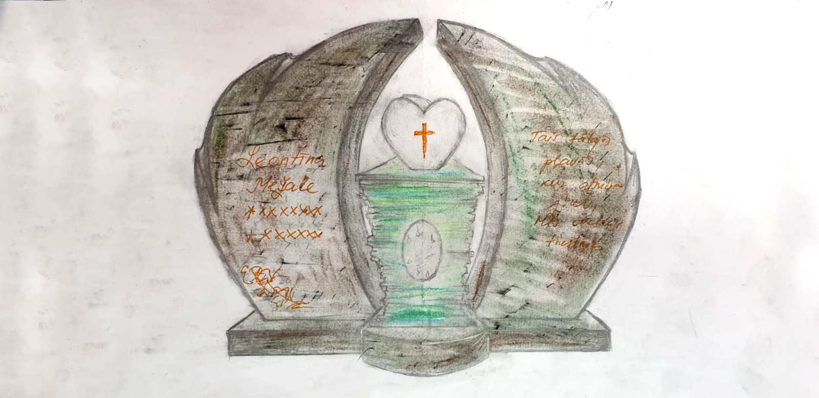 Kapu pieminekļa skices dizains