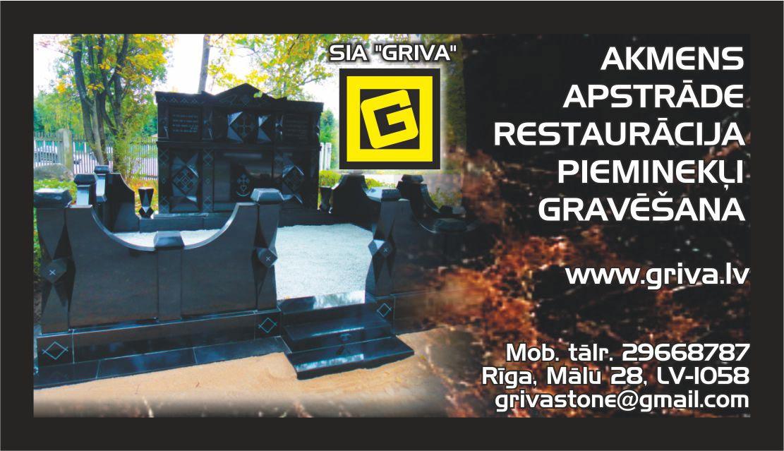 SIA Griva - Kapu pieminekļu izgatavošana Rīgā