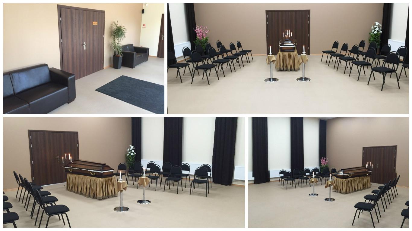 Jaunā Krematorija atsevišķi aprīkota telpa, kur piederīgajiem atvadīties no mirušā - atvadu zāli