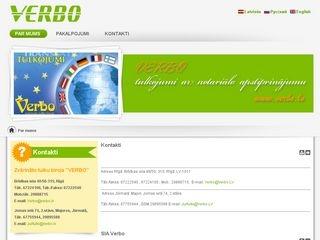 Verbo, dežūrējošais zvērinātu tulku birojs webpage