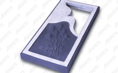 Kapu apmale vienvietīga, slēgta, ar izgriezumu un zīmējumu (rozes) / Надгробие одиночное, закрытое, с вырезом и рисунком (розы)