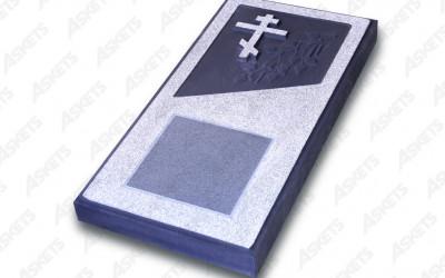 Kapu apmale vienvietīga, slēgta, ar pareizticīgo krustu un plāksni / Надгробие одиночное, закрытое, с православным крестом и пластиной