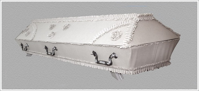 White draped coffin -