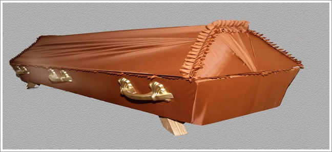 Orange draped coffin -