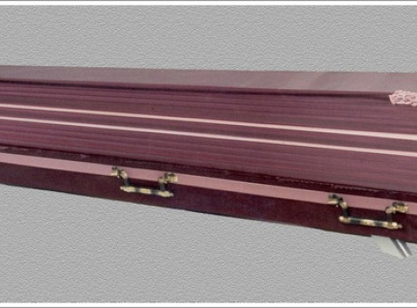 Pink draped coffin