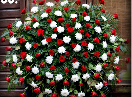 Funeral wreath with roses and chrysanthemums