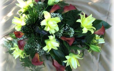 Bēru štrauss - brūnaskallas un dzeltenas potētās lilijas uz zaļu augu pamatnes