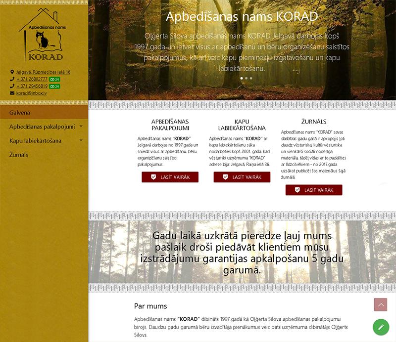 KORAD, Oļģerta Silova apbedīšanas nams webpage