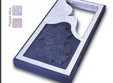 Закрытая могильная плита с резьбой и рисунком(лилия).ASKETS SIA