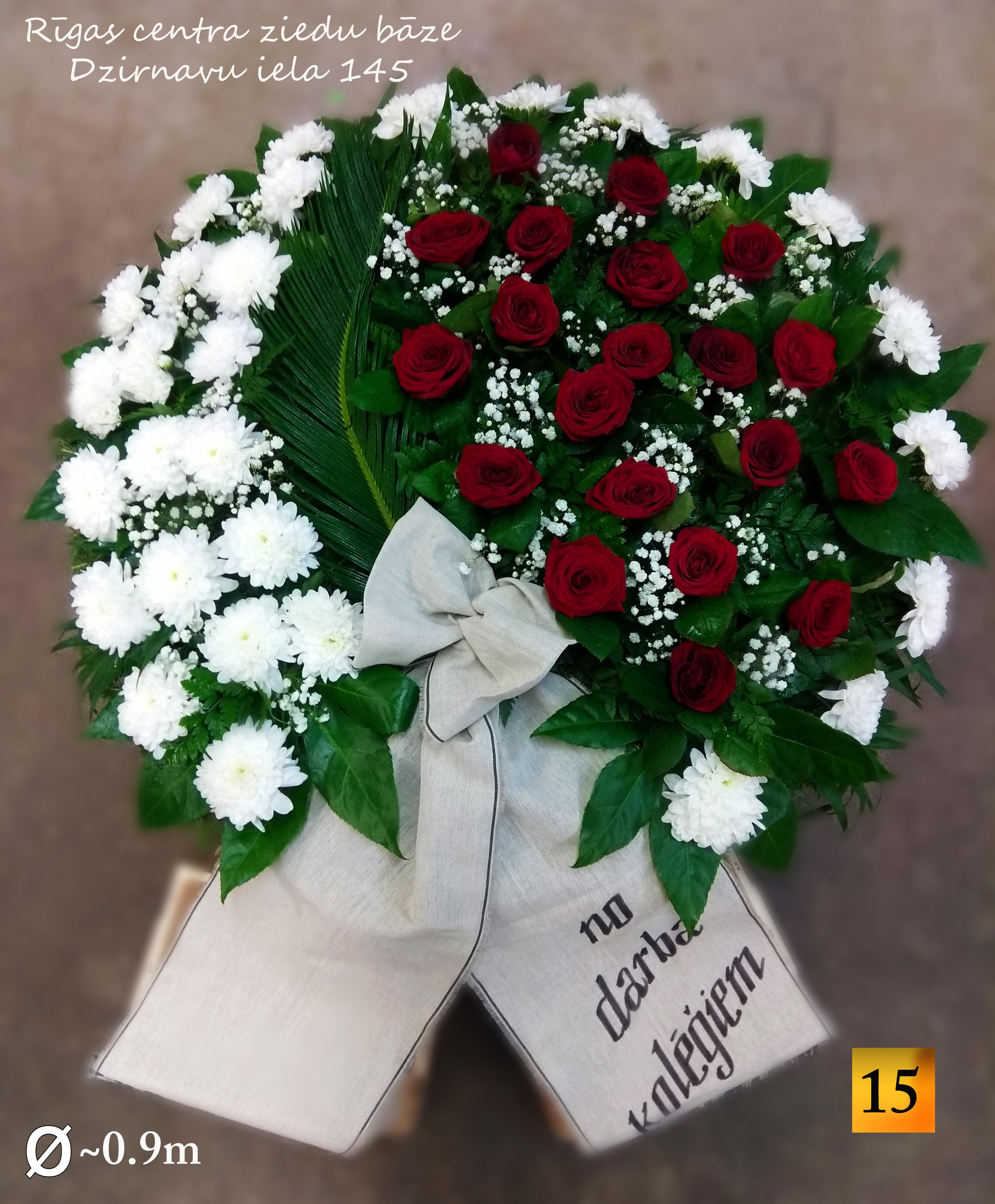 Похоронные венки из свежих цветов с льняной лентой -