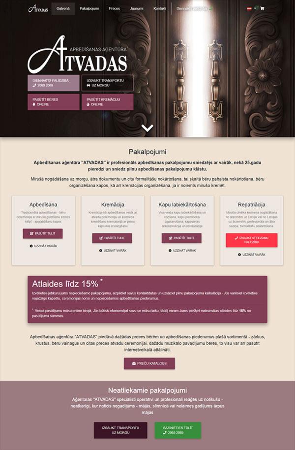 Atvadas SIA webpage