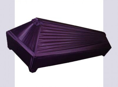 Violet draped coffin