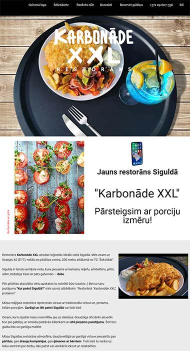 Karbonāde XXL - Jauns restorāns Siguldā Вебсайт