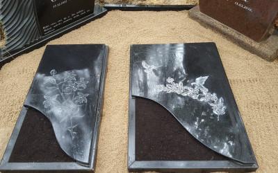 Granīta slēgta apmale melna ar gravējumu