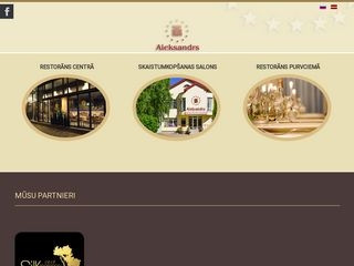 Aleksandrs restorāns webpage