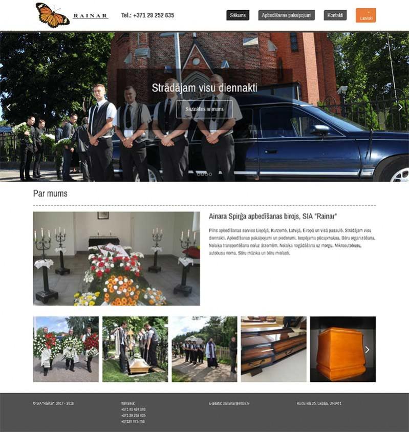 Rainar SIA, Ainara Spriģa apbedīšanas birojs webpage