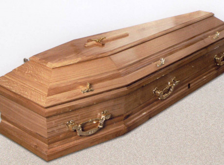 Natural wood tone sarcophagus