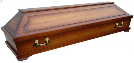 Wooden coffin with handles