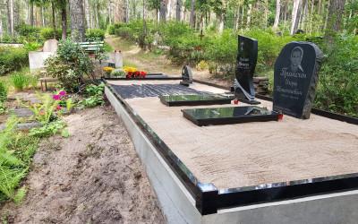 Kapa vietas labiekārtošana, granīta sētiņa, granīta slēgtās apmales, kapu piemineklis.