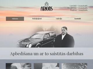 ARIONS IK apbedīšanas pakalpojumu birojs webpage