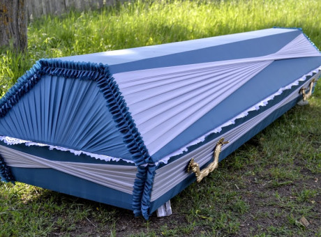 Casket with luxurious draperies